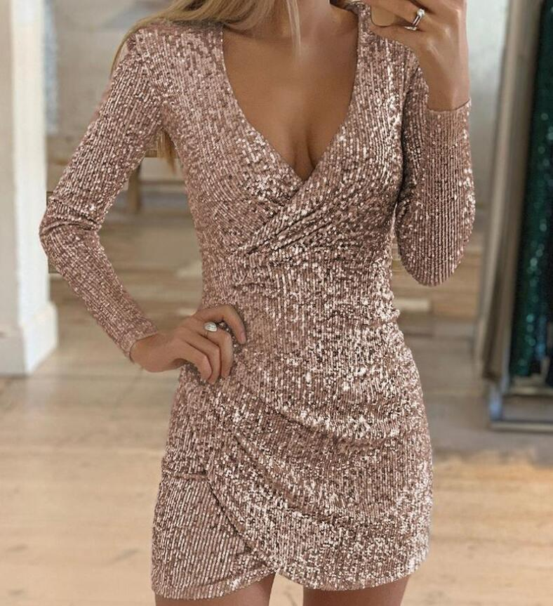 Long <font><b>sleeve</b></font> <font><b>sexy</b></font> v-neck sequin <font><b>dress</b></font> <font><b>women's</b></font> 2019 <font><b>spring</b></font> autumn bag hip irregular mini skirt slim temptation hip hop party <font><b>dress</b></font> image