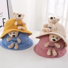 Autumn And Winter Cute Plush Bear Children Pot Hat Cartoon Men And Women Baby Sun Protection Hat Children Fisherman Hat