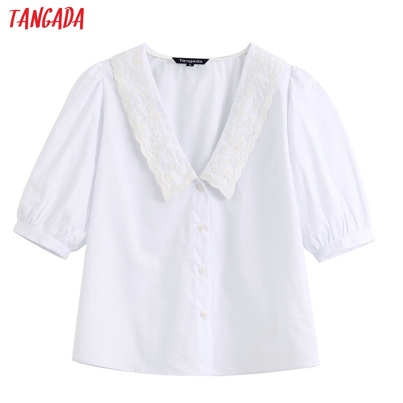 Tangada Women Embroidery Collar White Shirts For Summer Short Sleeve Elegant Office Ladies Work Wear Blouses BE251