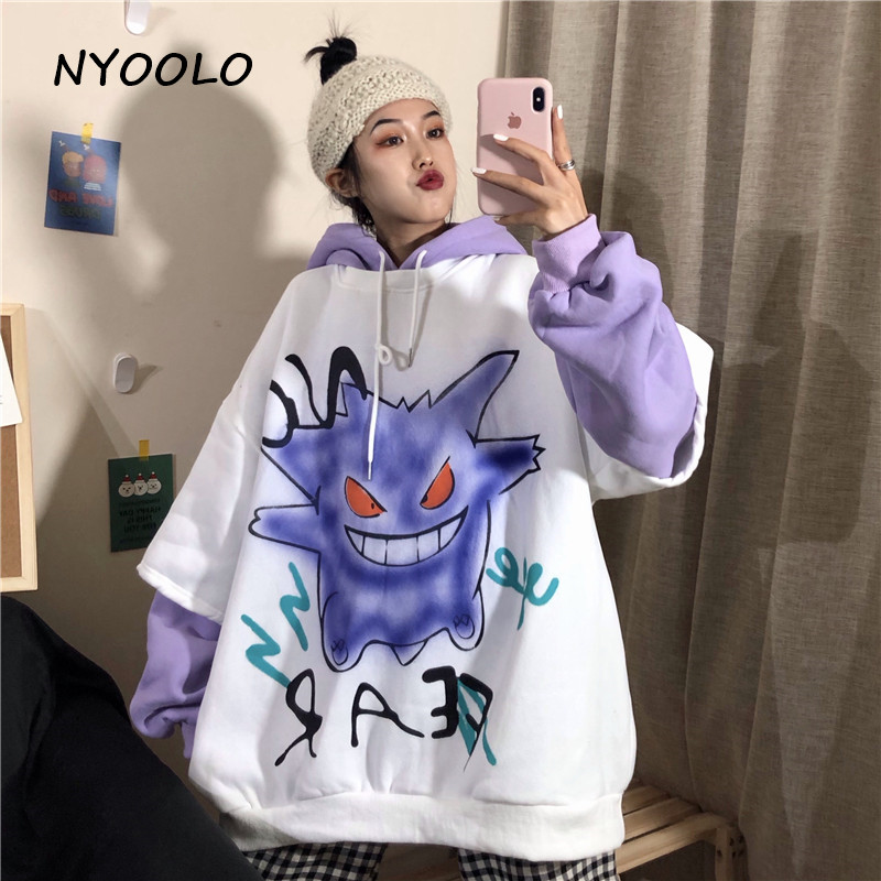 NYOOLO Autumn Winter Monster Print Fake Two Pieces Patchwork Warm Hoodies Casual Plus Velvet Pullover Hooded Sweatshirt Women