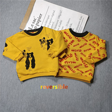 BOBOZONE Panda sweater yellow reversible letter sweater red for kids boys girls