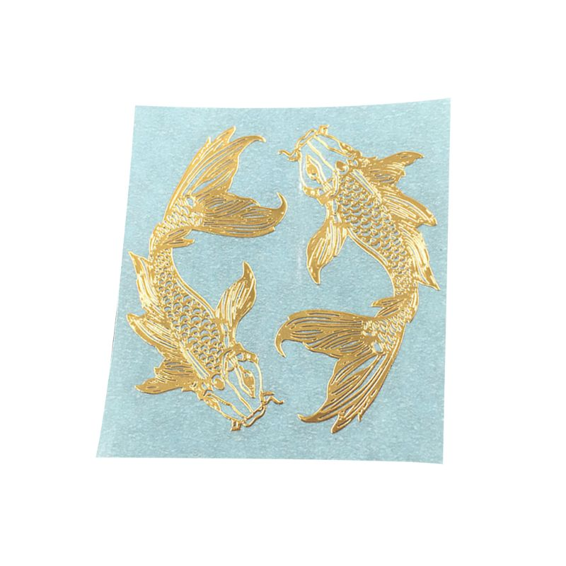 2Pcs/Pair Golden Carp Fish Epoxy Resin Mold Metal Sticker DIY Jewelry Fillings