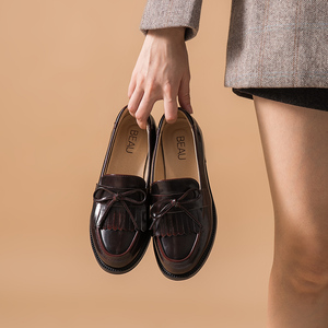 Image 2 - BeauToday Women Moccasin Loafers Handmade Tassel Bowknot Round Toe Slip On Genuine Leather Top Quality Lady Shoes 27064