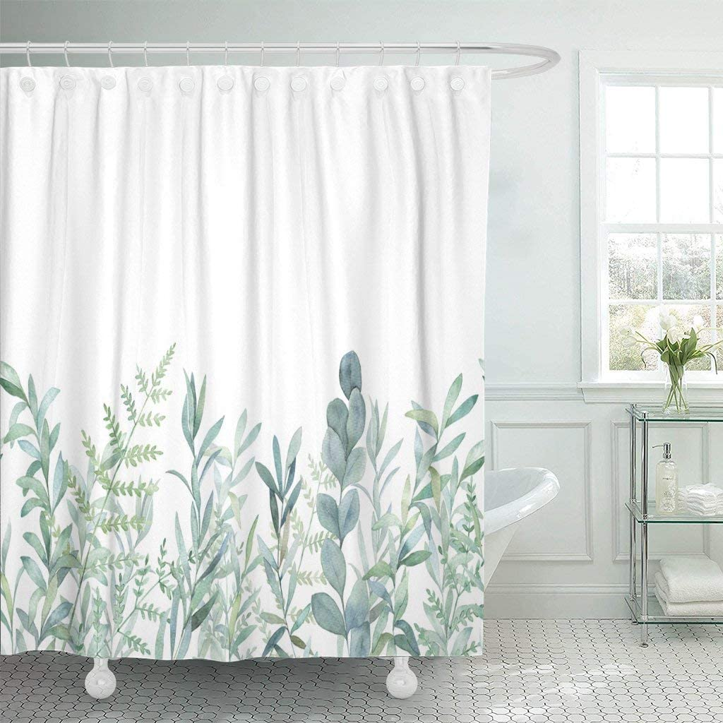 green eucalyptus watercolor floral pattern waterproof polyester fabric bathroom curtain home decoration bathroom shower curtain