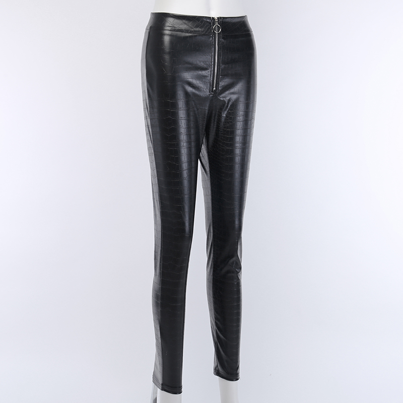 H7c97b61c323e418e89e42ce7a25512c5K - InstaHot Elegant High Waist Faux Leather Pants Women Pencil Skinny Pants Office Ladies Trousers Casual Slim Black Capris