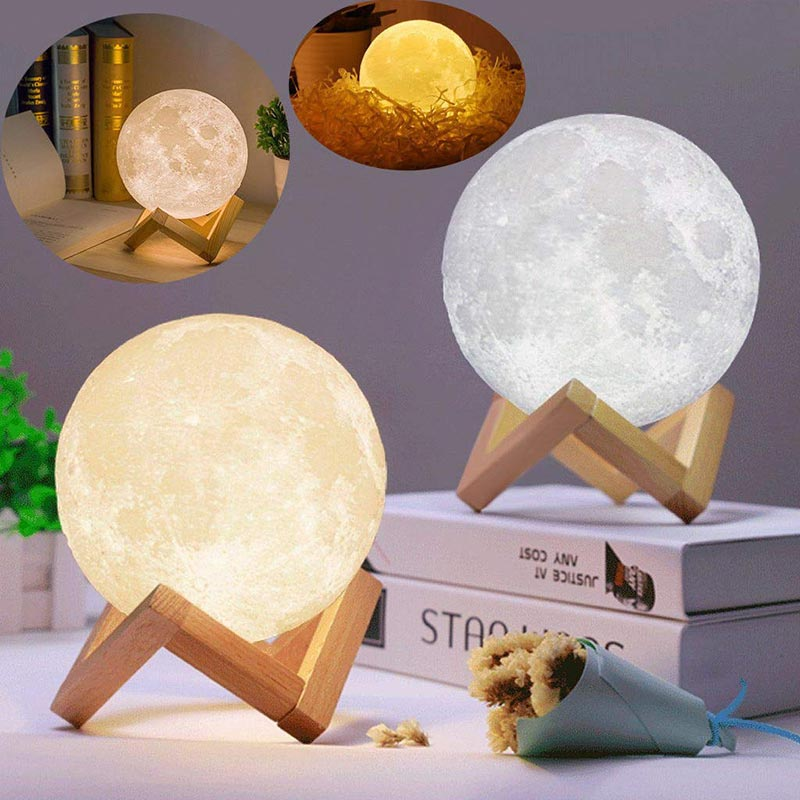 Lampada 3D Print Rechargeable Moon Lamps LED Night Light Creative 16 Colors Touch Switch Moon Light For Bedroom Decoration Gift