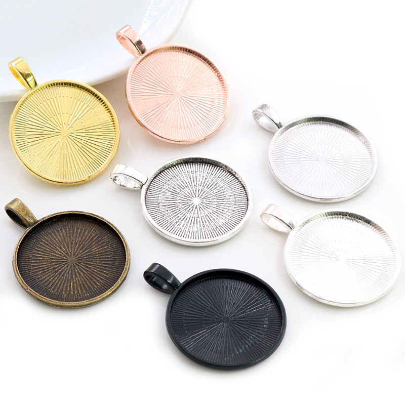 New Fashion 10pcs 25mm Inner Size 7 Colors Plated Classic Pattern Simple Style Cabochon Base Setting Charms Pendant