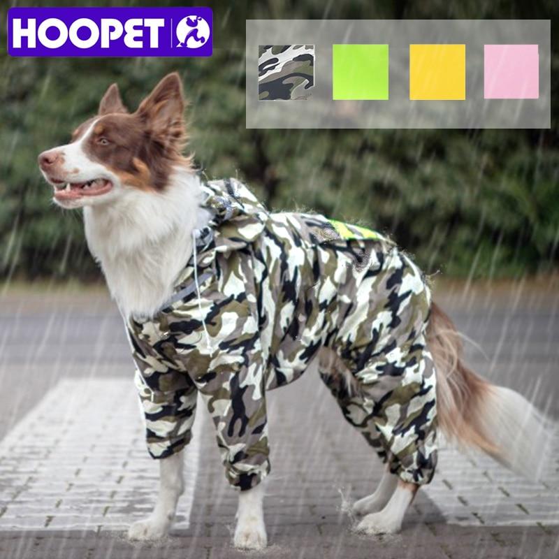 HOOPET Dog Raincoat Jumpsuit Rain Coat for Dogs Pet Cloak Labrador Waterproof Golden Retriever Jacket(China)