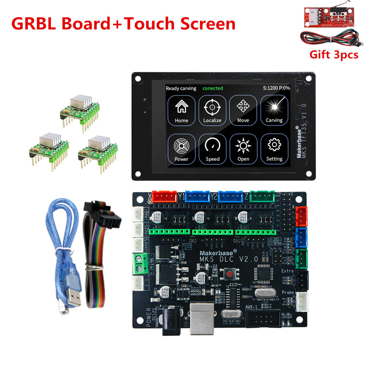 GRBL 1 1 offline monitor CNC 3018 pro upgrade parts control card TFT35 CNC display MKS DLC for laser engraving machine carving