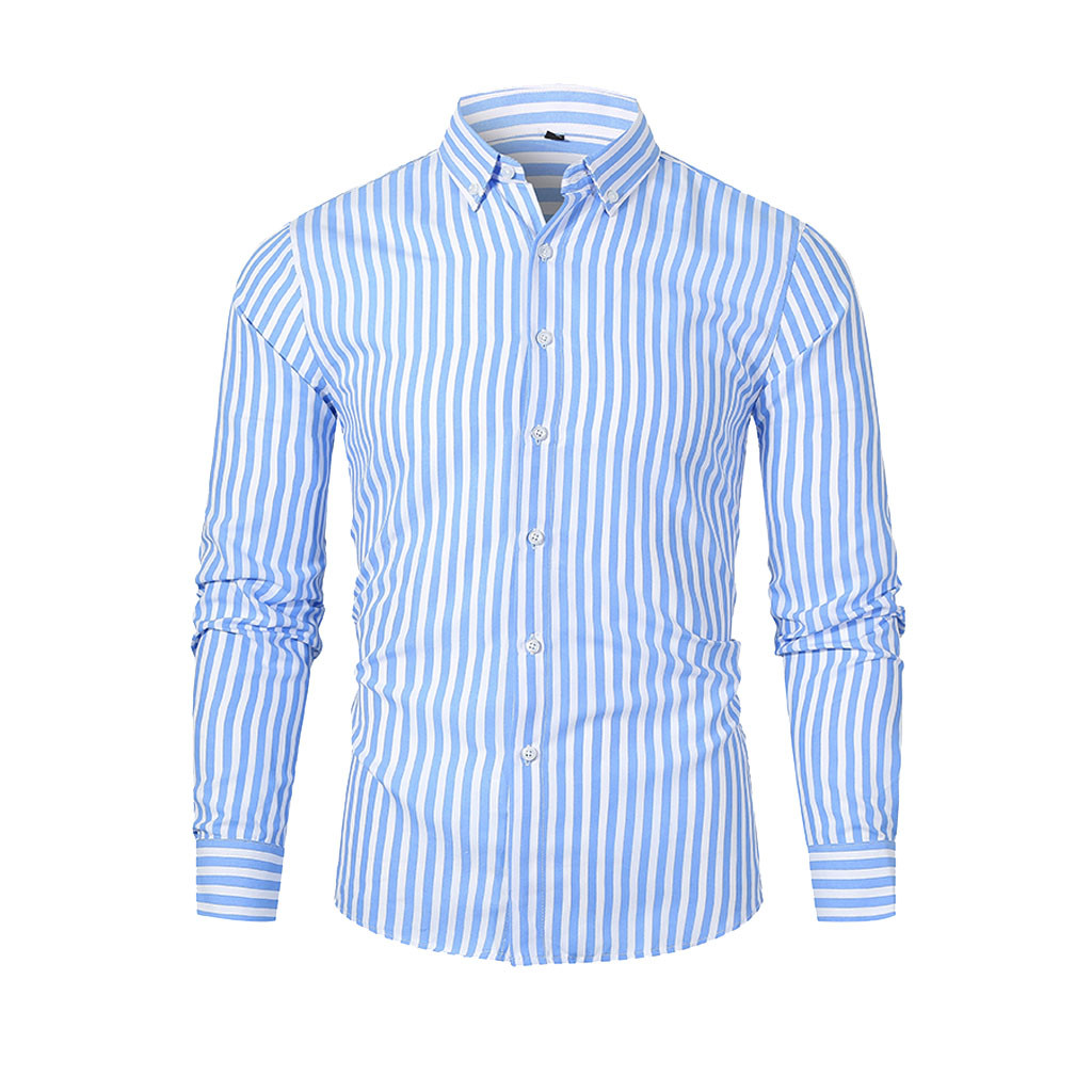 2019 Autumn Men's Autumn Winter Casual Slim Striped Long Sleeve Shirts Top Beach Blouse OL Style Loose Fashion Workwear Casual