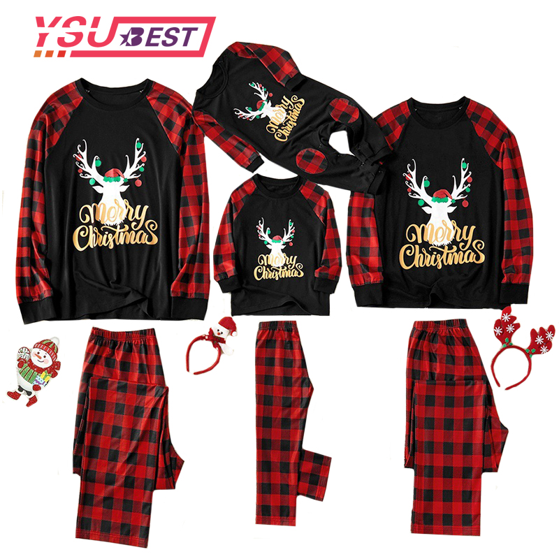 New Family Christmas Pajamas Suit 2019 Baby Boy Girl T Shirt Tops Pants Family Pajamas Sleepwear Christmas Outfits Christmas Pjs