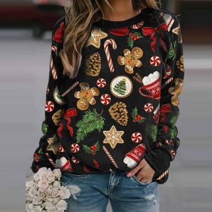 Women Casual Christmas Printing Sweatshirt Winter Long Sleeve O-neck Tops Ladies Cute Pullover Plus Size Hoodies Clothes 2020