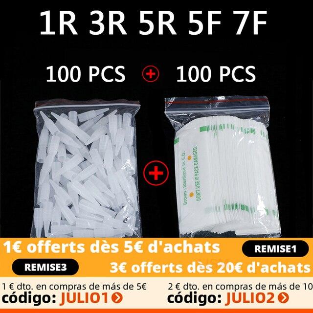 100PCS 1R 3R 5R 5F 7F PMU Needles + Needle Tips Disposable Sterilized Professional Tattoo needles for Permanent Makeup Eyebrow 1