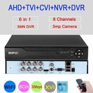 Image 1 - 5 МП/4 МП/2 МП/1 МП AHD камера Hi3520D XMeye Обнаружение лица аудио 5M N 8CH 8 каналов 6 в 1 Гибридный Wifi Onvif NVR TVI CVI AHD DVR
