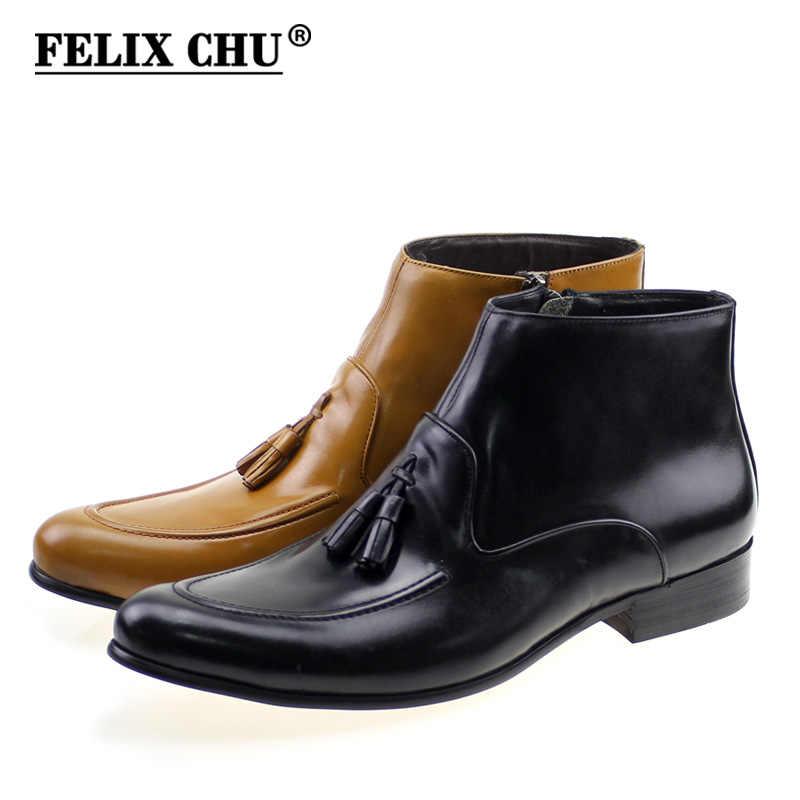 Felix Chu Fashion Designer Genuine Leather Mens Ankle Boots High Top Zip Male Dress Shoes Black Brown Man Basic Tassel Boots Aliexpress