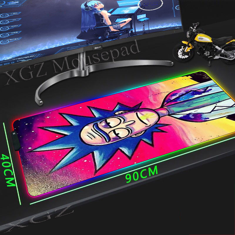 XGZ Rick and Morty Custom Large RGB Animated Mouse Pad Black Lock edge Computer Desk Mat Rubber  900x400/800x300 Xxl|Mouse Pads| |  - title=