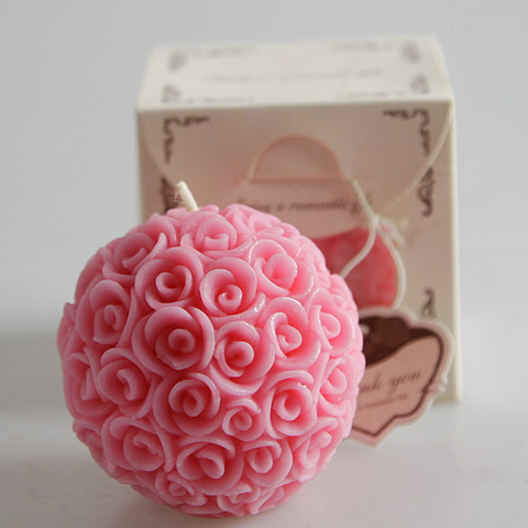 4pcs Wedding decorative candles romantic rose ball flower candle for birthday party wedding favors and gifts wedding supplies Karachi