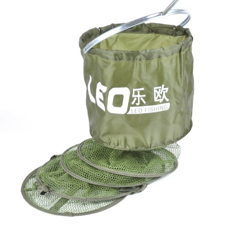 LEO 34CM * 1.5M Fish Net Cage Fishing Tackle Care Creel 5 Layers Collapsible|Fishing Tackle Boxes| |  - title=