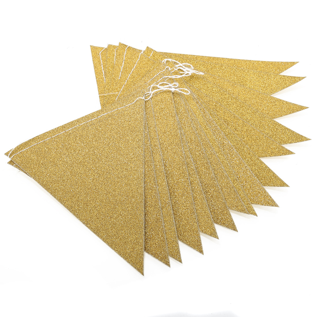 DIY Triangular Fag Banner Bunting Gold Pink Silver Glitter Paper Garlands Wedding Party Home Decoration Party Supplies