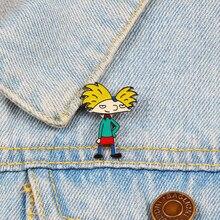 Креативные Мультяшные крутые Значки для мальчиков аниме Арнольд Броши металлические эмалированные булавки джинсовые куртки рубашки нагрудные значки для женщин мужчин ювелирные изделия