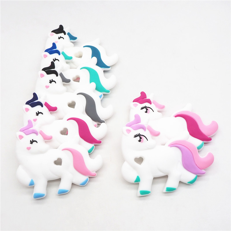 Chenkai 1PC BPA Free Silicone Unicorn Teether DIY Newborn Baby Shower Pacifier Dummy Teether Charm Sensory Toy Accessories