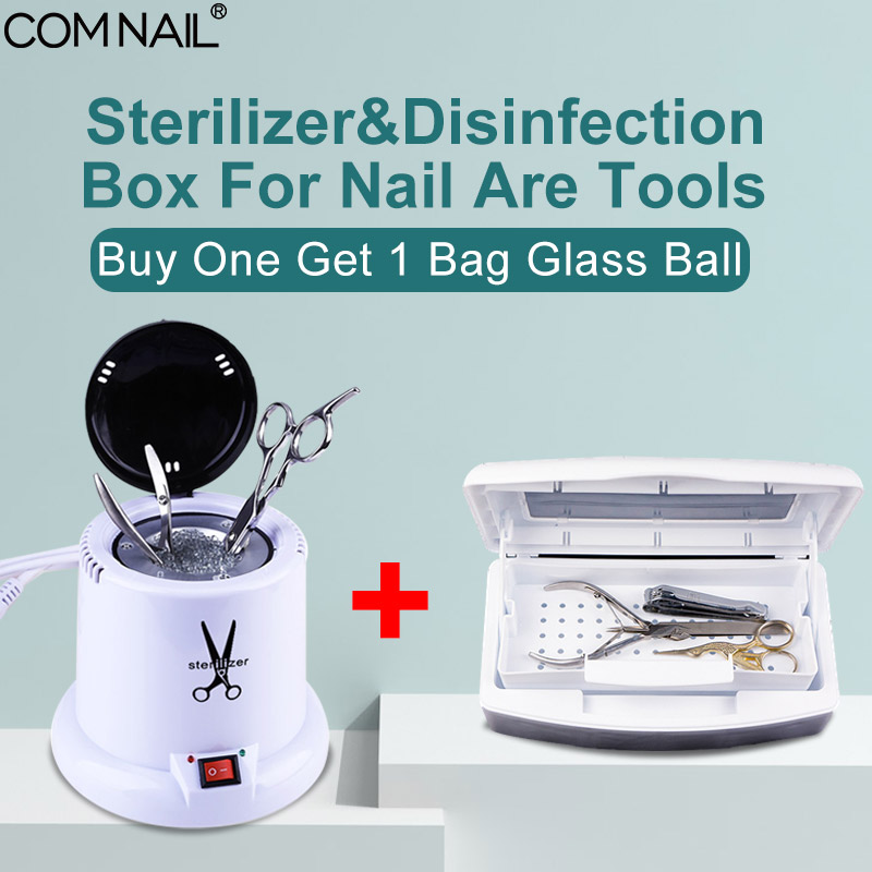 High Temperature Sterilizer With 1 Bag Glass Balls Disinfection Box Set For Nail Art Tools Metal Tool Dry Heat Manicure Machine