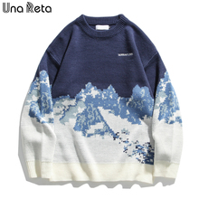 Sweater Pullover Men's Clothing Loose-Tie Knitted Harajuku Winter New Una Reta Dye