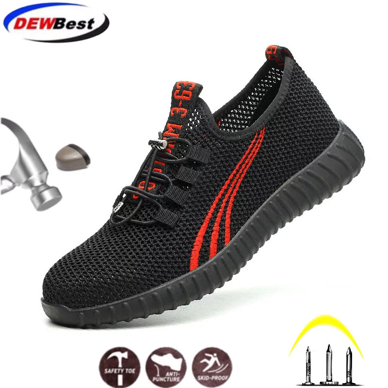 Dewbest Steel Toe Men Safety Shoes Breathable Lightweight Summer Anti-smashing Piercing Mesh Casual Male Work Boots #W 566