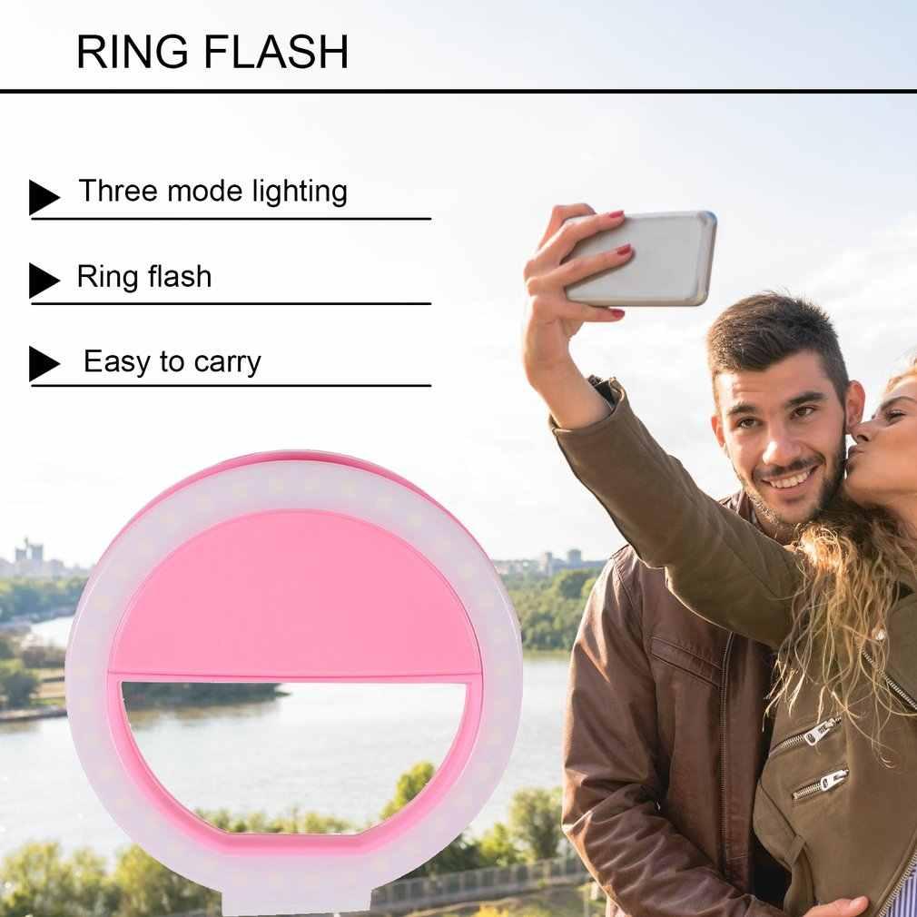 Universal Selfie LED Flash anillo Luz Portátil Selfie lámpara lente de teléfono móvil para iPhone XS Max Xiaomi Samsung Clip de anillo luminoso