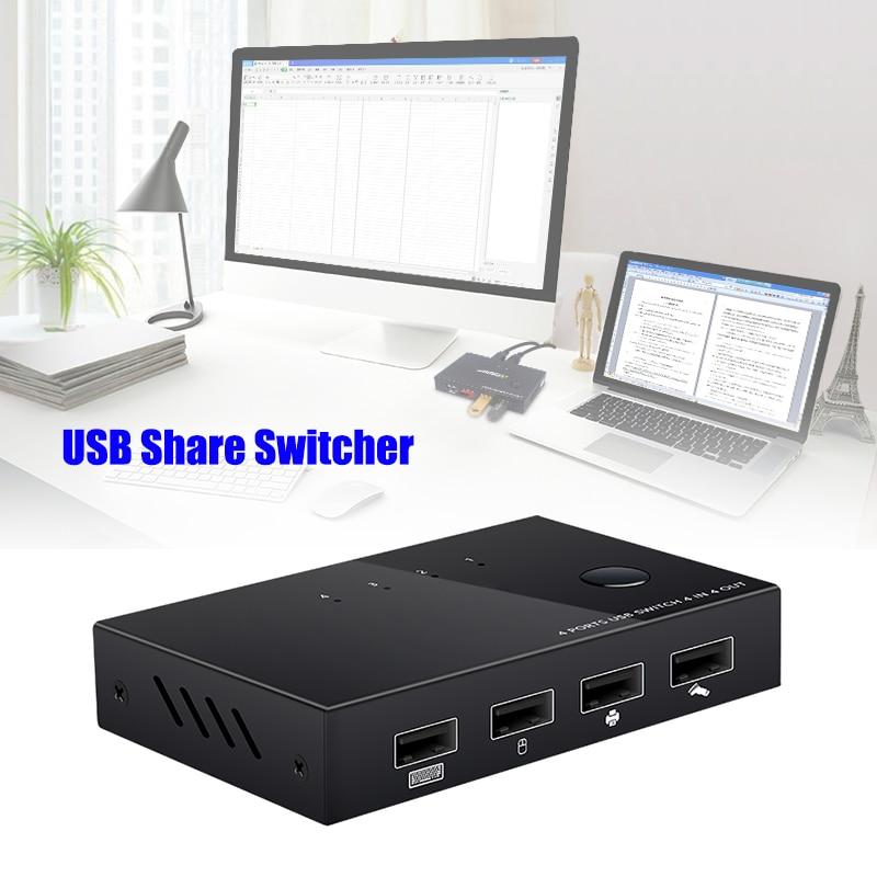 USB Sharer Splitter KVM Switch Box USB Switcher For Keyboard Mouse Printer KQS8