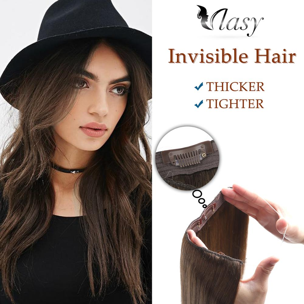 Vlasy 20'' 100g/pc Halo Clip In Hair Straight Remy Invisible Wire Flip In Hair Extensions 1pc/set 3 Clips On Hair