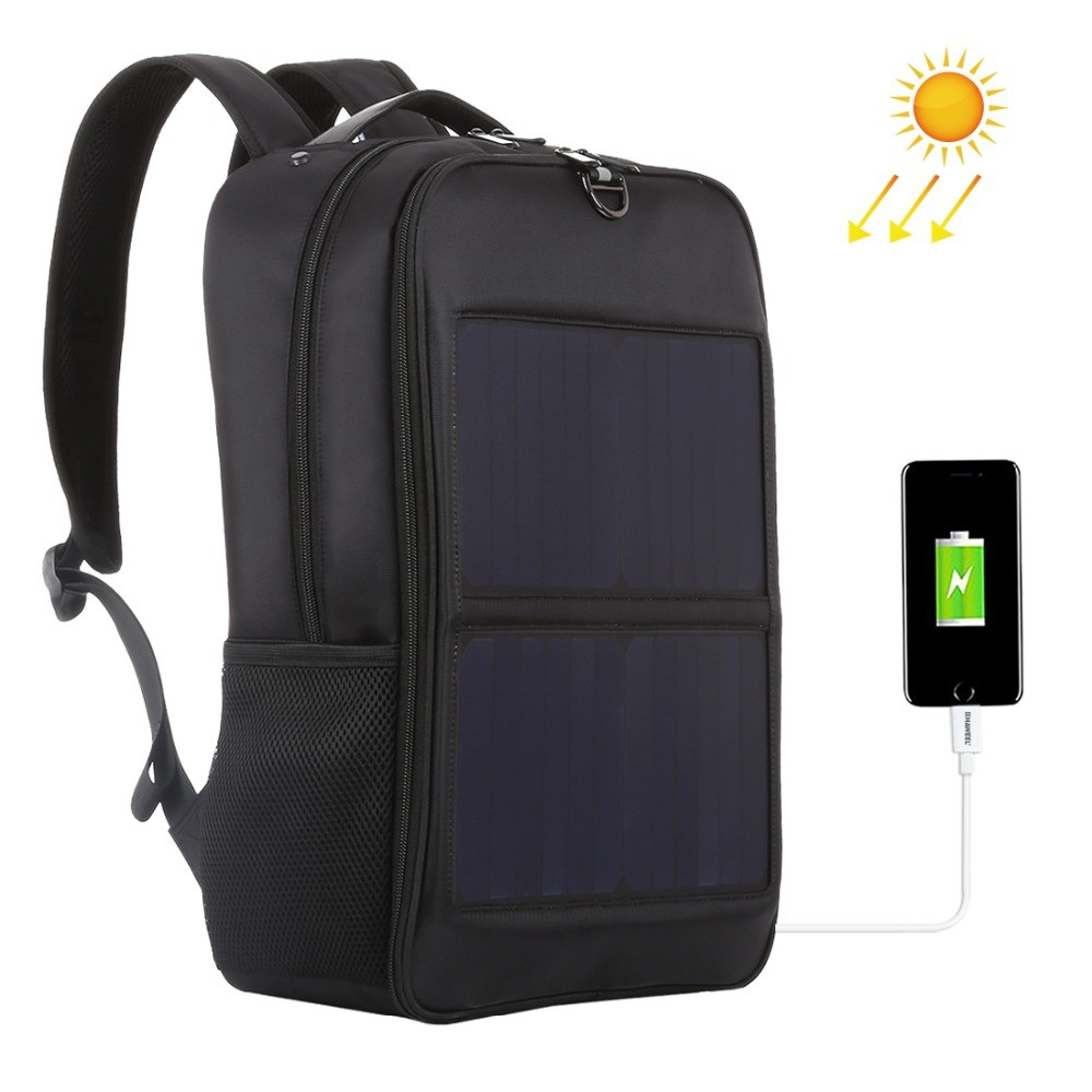 Haweel Solar Panel Backpacks Convenience Charging Laptop Bags for Travel 14W Solar Charger W/h Handle and Dual USB Charging Port