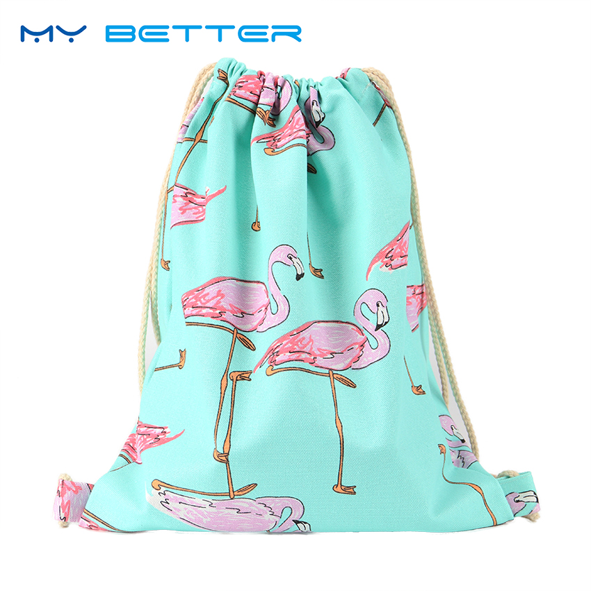 Flamingo Printing Canvas School Bags Flamingo Travel Portable Backpacks Drawstring Bag For Women And Students