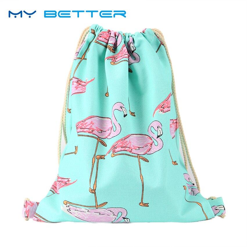 Flamingo Printing Canvas School Bags Flamingo Travel Portable Backpacks Drawstring Bag For Women And Students