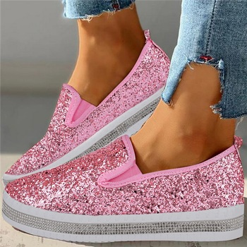 2020 Crystal Diamonds Women Flats Bling Woman Shoes Rhinestone Ladies Casual Shoes Round Toe Slip-on Platform Women's Shoes 43