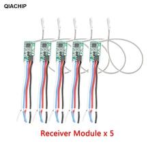 QIACHIP Interruptor de Control remoto inalámbrico Universal, 5 uds., 433,92 Mhz, DC 3,6 V 24V, 1 CH, receptor de relé RF, Kit de Controlador de luz LED