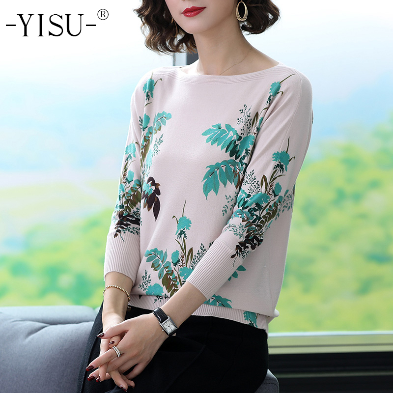 YISU Women Sweater 2019 Autumn Winter Slash Neck Pullovers Long Sleeve Flower Printed Large Size Sweater Loose Women Sweater