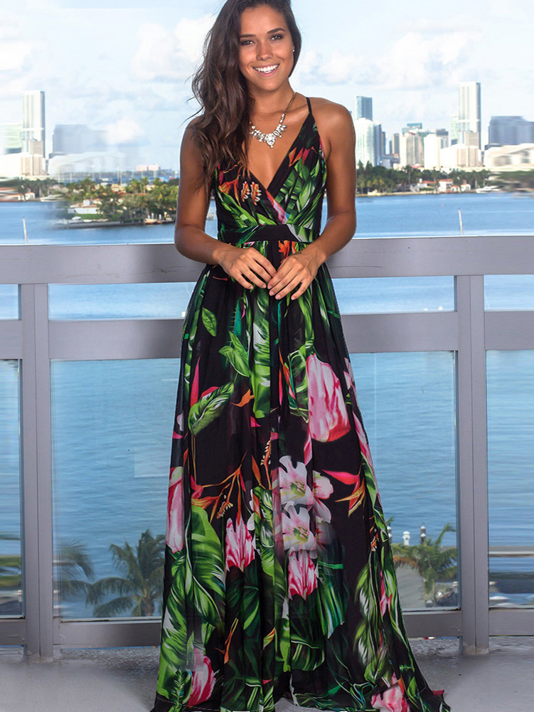 Summer Dresses Sling Maxi Tropical-Jungle-Leaf Boho Cross-Back Party Multicolor Night-Elegant