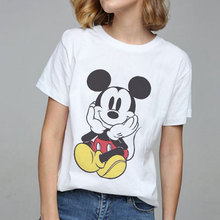 Summer 2019 Tops Mouse Print Graphic Tees Women T-shirt Tumblr Streetwear Vogue