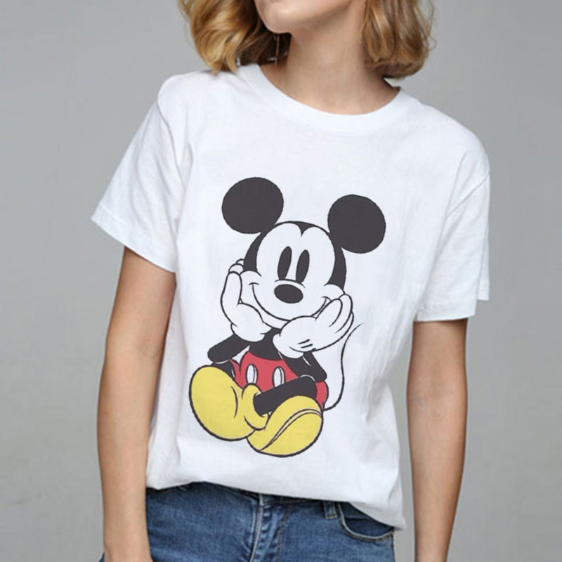 Summer 2019 Tops Mouse Print Graphic Tees Women T-shirt Tumblr Streetwear Vogue Tshirt Kawaii Harajuku Casual Ladies T Shirt
