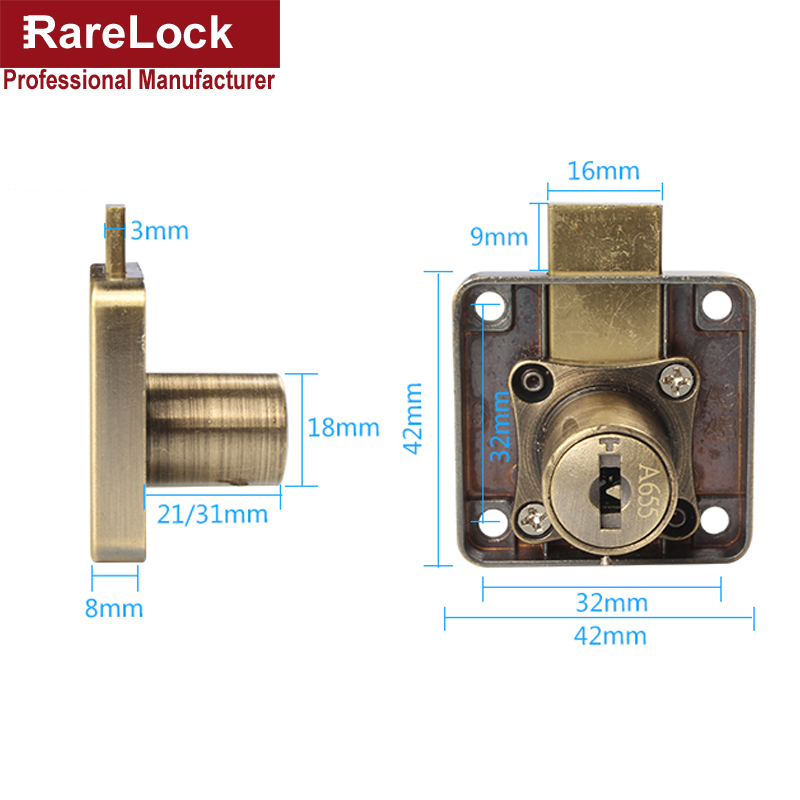 Image 2 - Rarelock Drawer Lock Red Bronze Computer Key Keyed Different DIY Furniture Hardware MMS388 aa-in Locks from Home Improvement