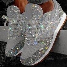 Tênis casuais femininos na moda respirável cristal lantejoulas rendas até baixo topo redondo sapatos de corrida feminino bling scarpe donna