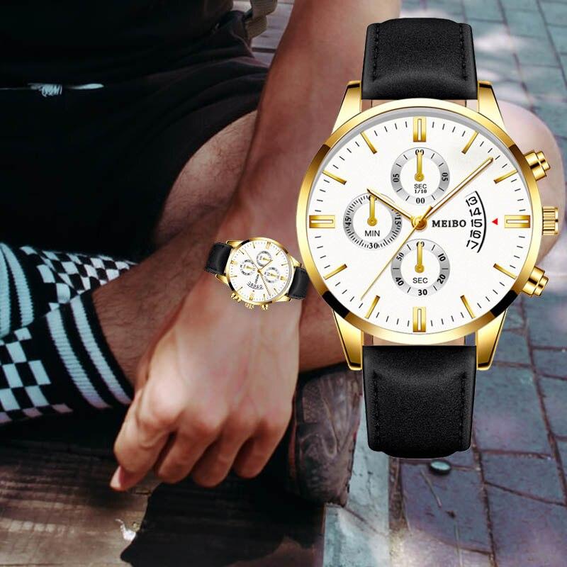 Classic Three Eye Design Men Watches Business Quartz Retro Design Clock Leather Strap Male WristWatch Gift Relogio Masculino