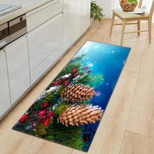 Christmas Carpet Kitchen Non-slip Carpet Restaurant Mat Flannel Carpet Christmas Home Decoration Floor Carpet Santa Claus Carpet