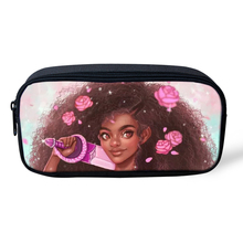 HaoYun Cartoon Kids Pencil Bags Black Afro Girls Pattern Travel Make-up Arts Design Students Mini Pen