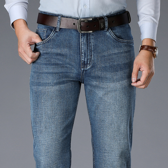 2020 New Business Fashion Stretch Denim Classic Style Men's  Regular Fit Stragith Jeans Jean Trousers Male Pants Blue And Black 2
