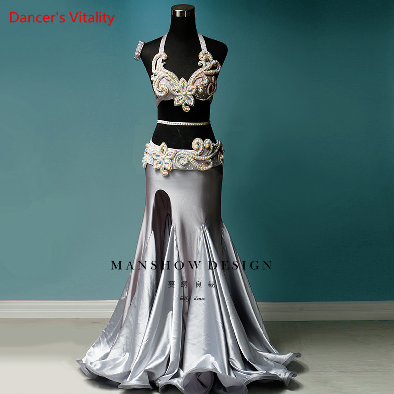 New Belly Dance Costumes Women's Suit Silver Gray Bag Hip Dress Sexy Diamond Five-piece Set Of High-end Custom