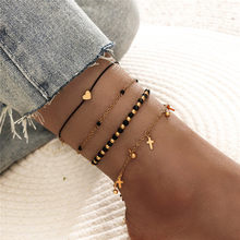WUKALO Bohemia Crystal Beads Anklet Set Fashion Gold Color Cross Heart Ankle Bracelets for Women Summer Beach Foot Jewelry