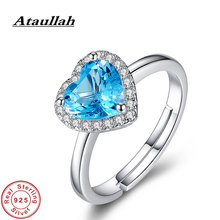 Ataullah Natural Blue Topaz Gemstone Ring Sterling 925 Silver Jewelry Fashion Adjustable Love Heart Shape Rings for Women RW083