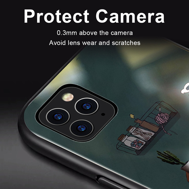 Phone Case For iphone11 /11 pro /11 pro Max Tempered Glass Craft Flash Sound Control Light Incoming Call Flash For iPhone Case 4